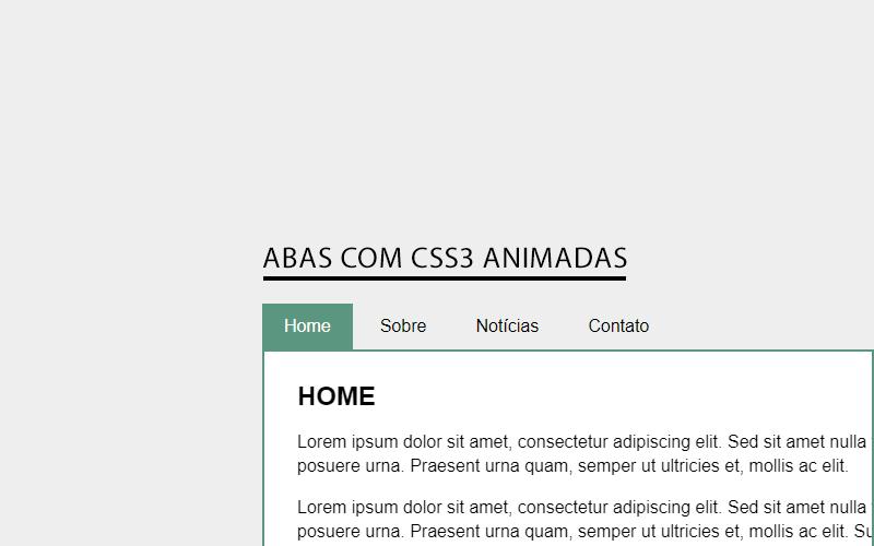 Abas com CSS3 animadas