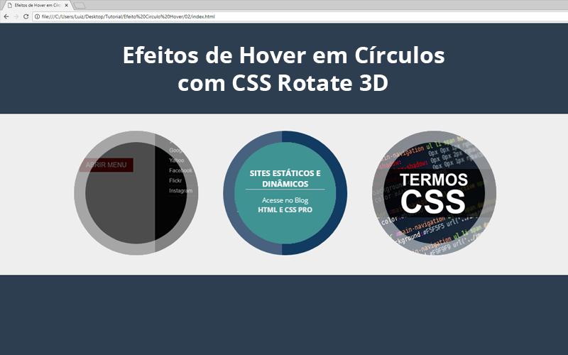 Efeitos de Hover em Círculos com CSS Rotate 3D